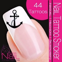 Nailart NAIL TATTOO STICKER - maritim / navy / anchor - black
