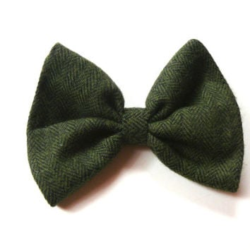 Green Tweed Hair Bow - Green Flannel Hair Bow - Large Hair Bow - Preppy Hair Bow