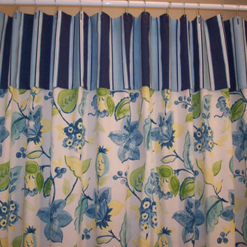 "Extra Wide Shower Curtain/ Extra Long & Wide - Reg. sizes also!   - 72"", 84""Long - RICHLOOM Alyssa Lagoon Flora fabric/ Yellow, Blue, white"