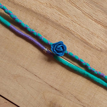 Turquoise dreadlocks, blue dreads, boho dreads, dread accessories, hair wraps