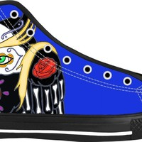 Sugar Skull Owl And Skull Blue High Top Black