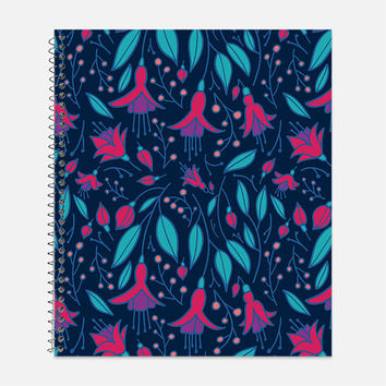 Fuchsia Fantasy Notebook, Waterproof Cover, Floral Journal, Back to School Supplies, Beautiful Flowers Notebook, College Ruled