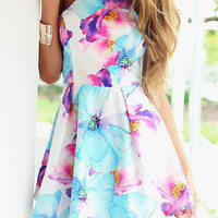 Fancy Floral Print Halter Mini Dress - OASAP.com