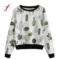 2018 feitong Women clothing Allover Cactus Print Ringer Sweatshirt  kawaii Lovely Cute Girls Splice Fall Spring Clothes