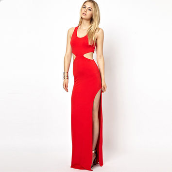 Red Sleeveless Waist Cut Out Maxi Dress with Two Side Slit