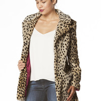Roxie Leopard Print Coat in Brown