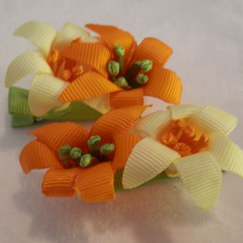 RIBBON SCULPTURES - EASTER - ORANGE / YELLOW LILIES