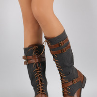 Bamboo Buckled Lace Up Wool Boots | UrbanOG