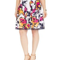 INC International Concepts Plus Size Floral-Print Pleated Flare Skirt | macys.com