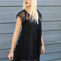 Calypso Falls Black Floral Lace Scoop Neck Trapeze Dress