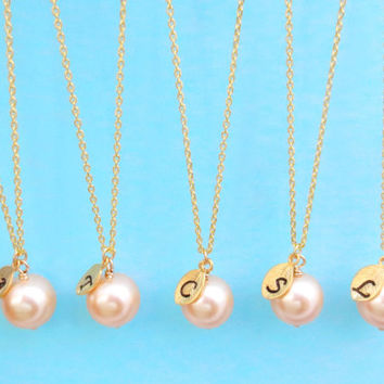 Set of 1-10 Bridesmaid, 10mm Peach Pearl, Initial, Necklaces, One, Pearl, Necklace, Single, Pearl, Pendant, Necklaces, Bridesmaid, Necklaces