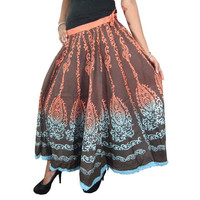Mogulinterior Bohemian Long Hippie Skirt Brown Printed Cotton Boho Flared Gypsy Fashion Skirts