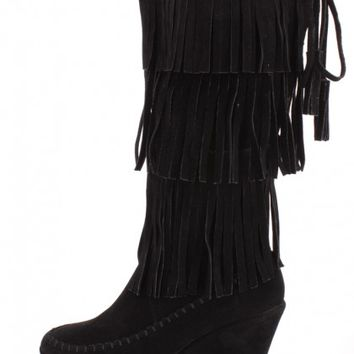 Black Fringe Tiered Wedge Boots Faux Suede