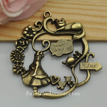 5pcs 42x43mm Antique Brass Alice in Wonderland Charms Pendant,  fairy tale world Charms Connector