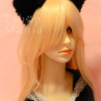 Black CAT MOVABLE ears HEADBAND, w or w/o Ribbon, Black/White/Brown/Grey/Golden/Red kitty car ears hairband,Costume Cosplay Party Halloween