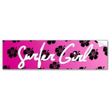 Surfer Girl in Pink Bumper Sticker from Zazzle.com
