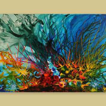 Abstract Giclee Print, Seascape, Blue, Red, Green, Corals, Sea, Ocean, Underwater, Canvas Print, Painting by Julia Bars