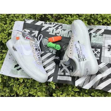 Sale Off White x Nike Air Force 1 Low Grey White Sport Shoes A04606-100