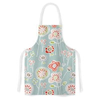 "Gill Eggleston ""Folky Floral Light Jade"" Blue Teal Artistic Apron"
