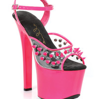 "Ellie Shoes Solar 7"" Neon Platform Black Light Reactive Spikes Fuchsia Ten"