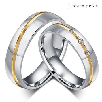 Couples stainless steel ring with AAA+ CZ stone
