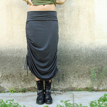 Grey Convertible Skirt, Adjustable Skirt,  Women Maxi Skirt