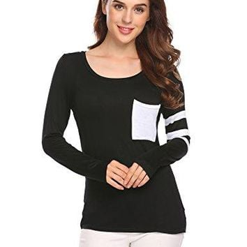 Venena Women Casual Long Sleeve Front Pocket Loose Fit TShirt Tunic Top