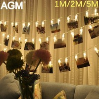 LED String Lights Fairy Lamp Starry Battery Card Photo Clip