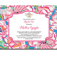 Lilly Pulitzer Inspired Bridal Tea Party Invitation Preppy Pink Flutter Blue Lucky Charm Floral Wedding Digital or Printed - Millie Style