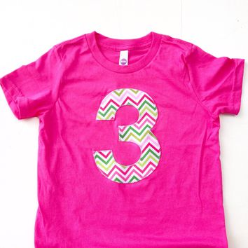 Chevron 3 third 3rd three Pink and Green Color Stripes Birthday Shirt - fuchsia hot pink preppy whale party