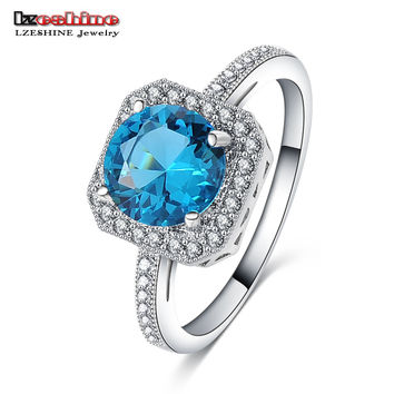 LZESHINE Brand 2016 Women Wedding Ring Silver Color Blue Color  CZ Stone Cocktail Ring Brincos CRI0342-B
