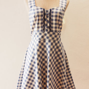 Dress in Blue , Blue Summer Dress, Straps Gingham Sweet Dress, Vintage Inspired, Vintage Lady Dress, Swing Skirt Dress, XS-XL,Custom
