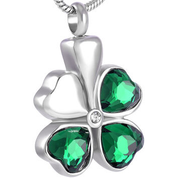 "Cremation ""4 Leaf Clover"" Pendant Urn Necklace"