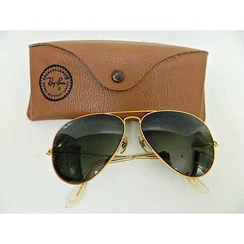 66975cb80 vintage rayban aviator sunglasses ray ban sun glasses mens pilot with case  gold