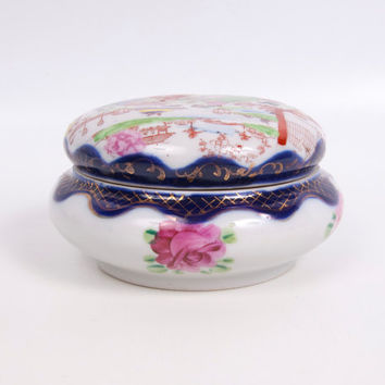 JAPANESE GEISHA Powder Jar Trinket Box Round Porcelain Hand Painted Cobalt Blue Pink Roses 22kt Gold Overlay Jewelry Box