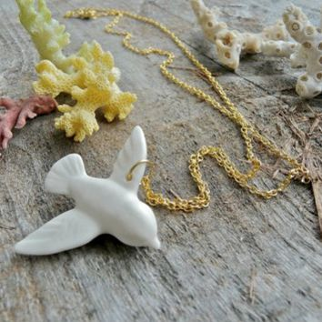 Supermarket - Porcelain Dove Necklace, Gold Chain from Revisions Design Studio