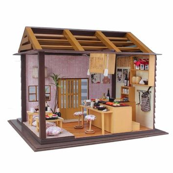 Hoomeda DIY Wood Dollhouse Miniature Doll Toys With LED Furniture Cover Sushi Bar Japanese Style Home Decoration Gift
