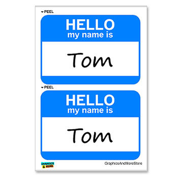 Tom Hello My Name Is - Sheet of 2 Stickers