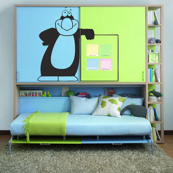Wall Decal Vinyl Sticker Art Decor Design penguin cartoons Board frame cheerful refrigerator children cabinet Bedroom nursery (i89)