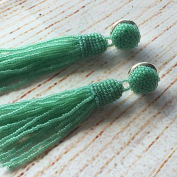 Beaded tassel earrings, mint green  color, prom earrings, fringe earrings,  statement seed beads earrings, tassle earrings