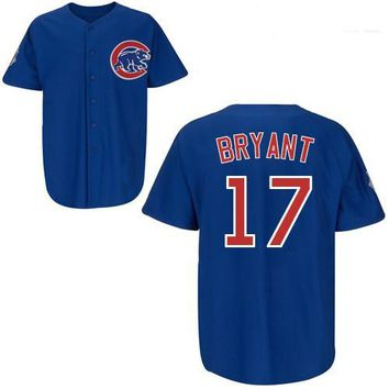 #17 Kris Bryant Alternate Blue Jersey Cheap Baseball Jerseys Chicago Cubs #44 Anthony Rizzo Authentic Baseball Cool base Jerseys