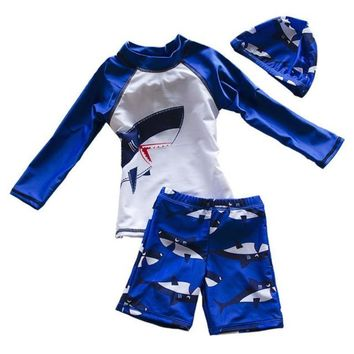 Printed Baby Boy Sporty Two Piece Swimsuits With Swim Cap