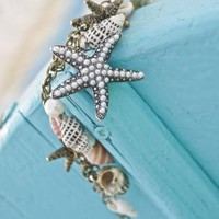 Multi Broonze - Conch Starfish Pearl Bracelet | UsTrendy