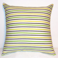 "Pillow Covers 18"" Set of Two - Green, Yellow and Brown Stripe Pattern"
