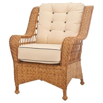 Mozambique Rattan Lounge Chair, Ivory, Wingbacks