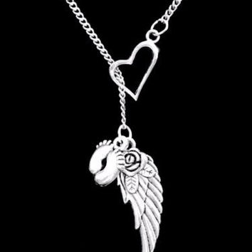 Angel Wing Baby Feet Miscarriage Child Loss In Memory Sympathy Lariat Necklace