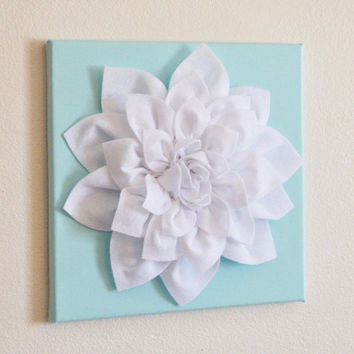 "MOTHERS DAY SALE Wall Flower -White Dahlia on Aqua 12 x12"" Canvas Wall Art- 3D Felt Flower"