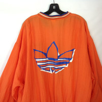 Vintage Adidas Jacket Nylon Windbreaker Hip Hop Jacket 1980s Trefoil Funky New Wave  XL extra large unisex