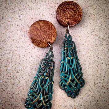 "Lovely Spirited Dangle Plugs- Sizes: 1/2"", 9/16"", 5/8"", 3/4"", 7/8"",1"" and more! Bohemian Hippie Style/ Date Night Plugs"