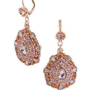 Betsey Johnson Mixed Pink Bead Teardrop Earrings